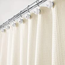 mDesign Hotel Quality Polyester/Cotton Blend Fabric Shower Curtain with Waffle Weave and Rust-Resistant Metal Grommets for...