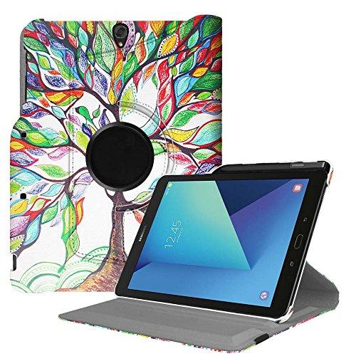 Fintie Funda Giratoria para Samsung Galaxy Tab S3 9.7 con Soporte Integrado para S Pen - Rotación de 360 Grados Carcasa con Auto-Reposo/Activación para Modelo SM-T820/T825, Árbol de Amor