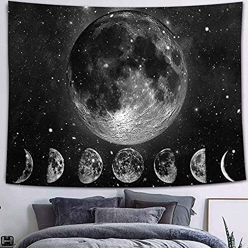 QAWD Tapiz de Mandala Tapiz de Marzo Tapiz de Tema en Blanco y Negro Bohemia Sol Luna Fondo de Tela Manta Tela Colgante A26 73x95cm
