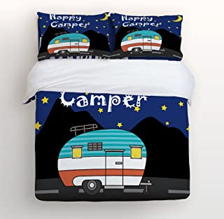 Happy Camper Night Camping Bedding Sets Queen Size Sky Moon and Stars Decorative 4 Pieces Duvet Cover Set Luxury Soft Flat Sheet Set with Pillow Case for Teen Girls Boys Men Women Children Kids