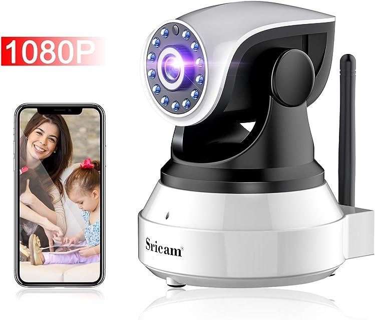 Camara IP WIFI 1080P Camara de Vigilancia Inalámbrico con HD Zoom Vision nocturna Comunicación Bilateral  Detección de movimiento Seguridad para Casa Mascota Anciano Compatible iOS/ Android