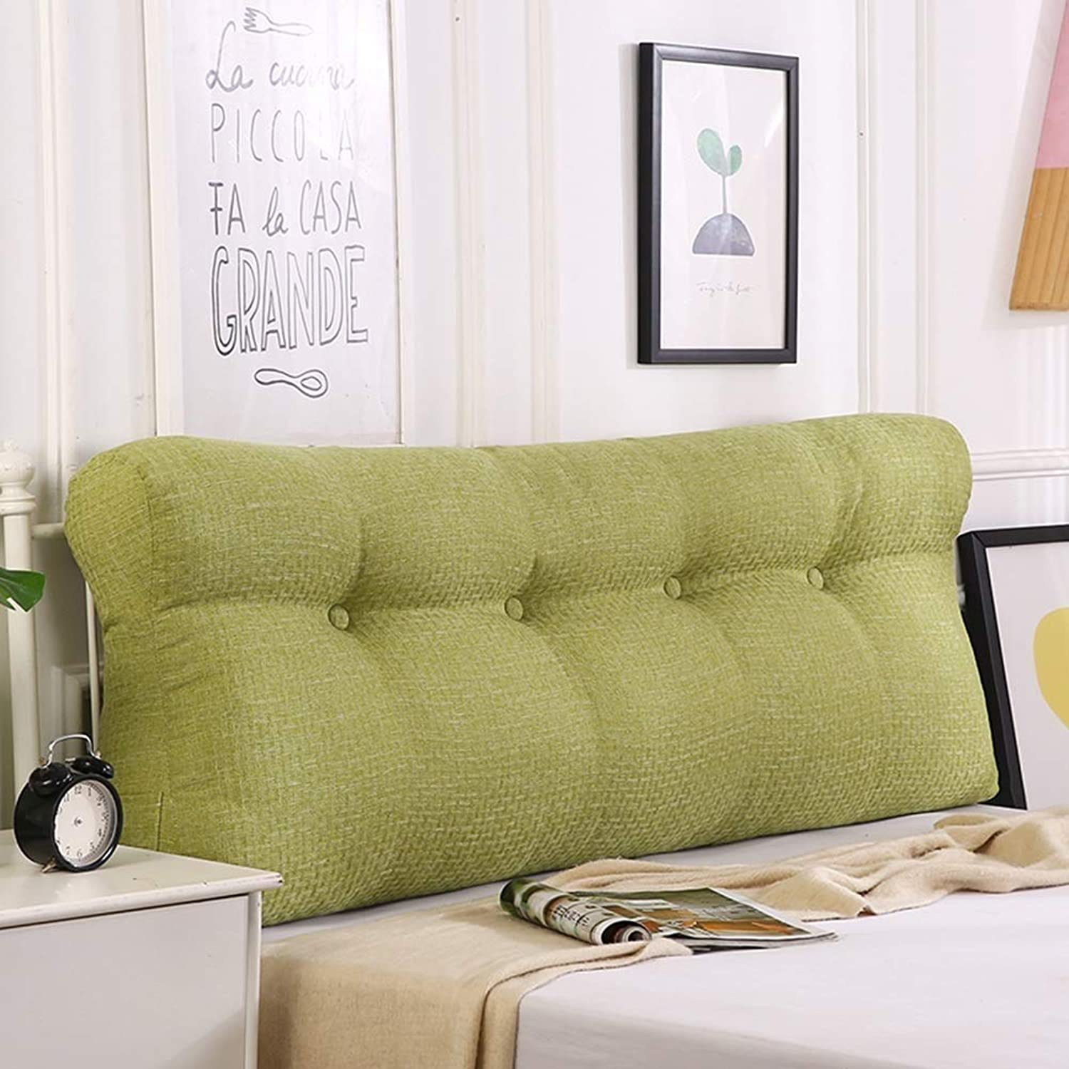 LPD-Bed backrest Cushion Headboard Bedside Cushion Pads Cover Bed Wedges Backrest Waist Pad Cloth Soft Case Home Triangle Waist Belt Backrest Washable, 6 colors (color   Green, Size   120x50x15cm)