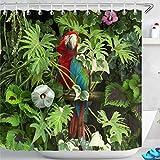 LB Duschvorhang Grüner Dschungel 180x180cm Papagei & Tropisches Laub Bad Vorhang mit Haken Polyester Wasserdicht Antischimmel Badezimmer Gardinen