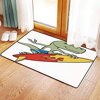Non-Slip Mat Microfiber Bathroom Rug Shower Mat, Reptile,Funny Surfing Trex in Water on Plain Background Safari, Ultra Soft and Water Absorbent Bath Rug,Machine Wash/Dry 20x 31 inches