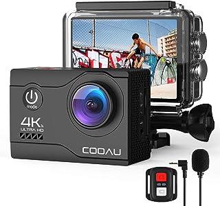 COOAU 4K Camara Deportiva cámara Web 20MP WiFi Underwater 40M Puede usarse como. con Control Remoto y micrófono Externo Cámara de Casco de estabilización EIS con baterías 2X1200mAh y 20 Accesorios