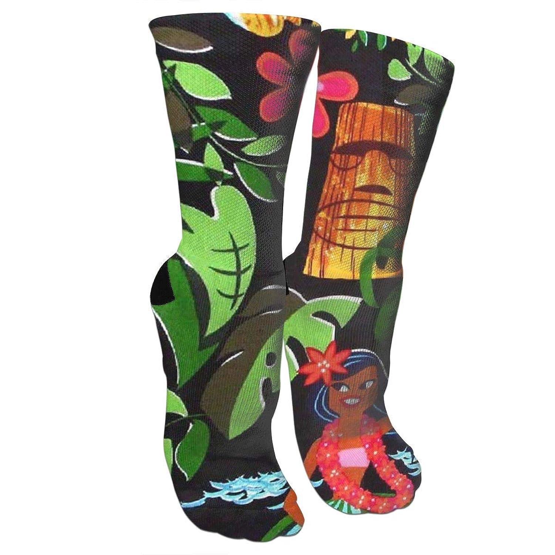 靴下 抗菌防臭 ソックス アロハハワイアスレチックスポーツソックス、旅行&フライトソックス、塗装アートファニーソックス30 cmロング靴下