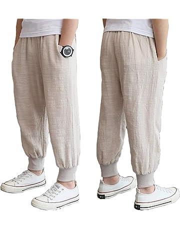 8a7c957d052b98 子供服 サマードレス こども パンツ サマードレス 少年 ズボン コットンとリネン モノクロ パンツ