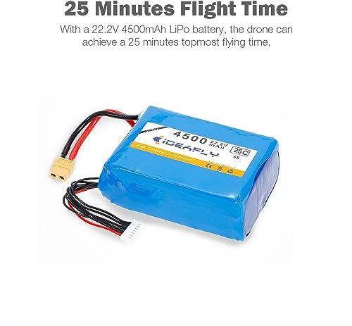 Leslaur Batterie 22.2V 4500mAh 6S 25C Li-po pour IDEAFLY Poseidon-480 Drone de pêche FPV Quadcopter