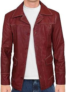 Casual Coat for Men Shop House Mens Fight Club Coat in Red Genuine Leather Tyler Durden Costume Brad Pitt Coat Leather Coat XXS-3XL