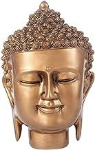 Prettyia 7 inch Shakyamuni Buddha Head Statue Figurine Resin Buddha Idol - Attractive & Serene Good Fortune Ornament - Bronze