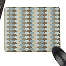 Personalized Mouse Pad Geometric Abstract Rounded Circles Pattern in Pale Tones Modern and Ornamental Art Design with Stitched Edge,15.7