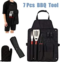 Portable 7Pcs Tools Grill Set Stainless Steel Cooking Tools Kit Utensils Apron Storage Bag Kitchen Accessories Tools