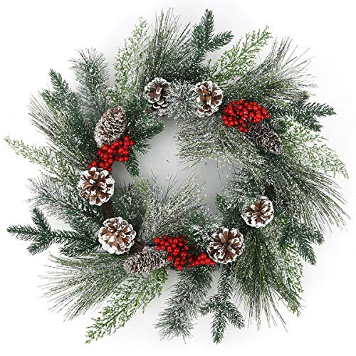 BOMAROLAN Winter Snowflake Christmas Wreath 20 Inch Artificial Pine Cone Pine Needle Branch Harvest Wreath for Front Door Foyers Shop Windows Fireplaces Walls New Years Decor Decor