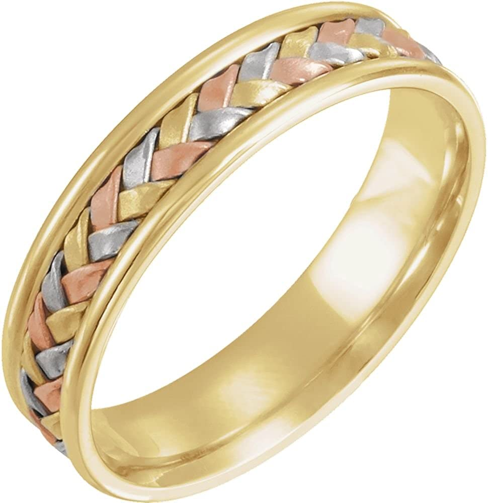 Jewels By Lux 14K White Yellow and Rose Tri Color Gold 4mm Woven Wedding Ring Band Size 5