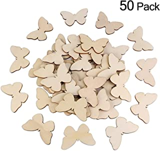 TINKSKY 50pcs Wooden Butterfly Shapes Craft Blank, Natural Unfinished Cutout Shape Wooden Butterfly, Christmas, Wedding, Guestbook, Decoupage Family Tree Decoration Valentine's Day gift DIY
