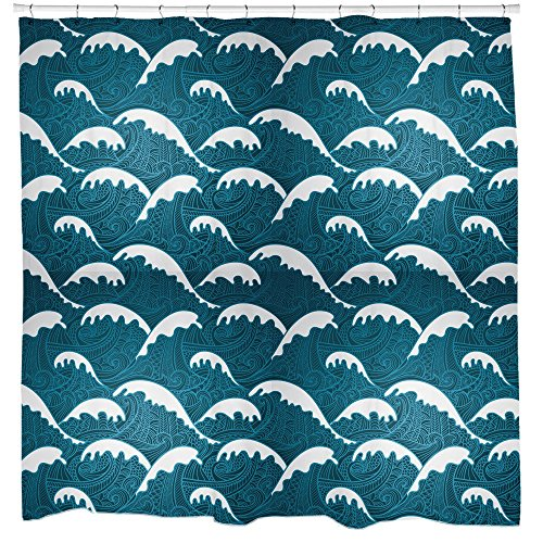 Calm Wellen Duschvorhang von Sharp Shirter, Polyester, multi, 180 cm x 188 cm(Standard)