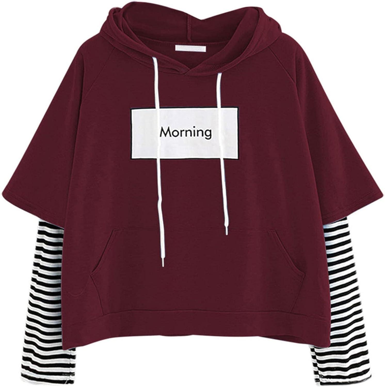 Women's Casual Long Sleeve Pullover Hoodies Teen Girls Workout Cute Shirts Letter Print Color Block Crop Tops Sweatshirt