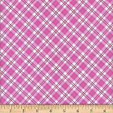 Mook Fabrics Flannel Snuggy Small Argyle Fabric, Pink, Fabric By The Yard