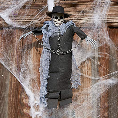 Shan-S Halloween Hanging Ghost 42x35CM, Creepy Scary Animated Skull Veil Skeleton Ghost Head Witch Halloween Party Decoration,[Very Realistic, Like an Evil Grim Reaper Staring at You]