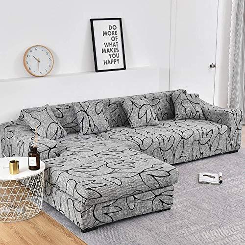 Funda de sofá elástica con Estampado Floral para el Protector de la Funda de la Silla de la Sala de Estar Compre Dos Fundas separadas para el sofá en Forma de L A15 de 4 plazas