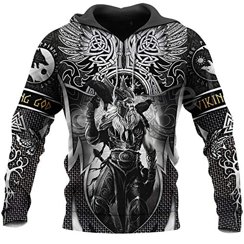 WDBAYXH Men's Norse Mythology Odin Tree of Life Tattoo Sweatshirt Hoodie Pullover, Viking Symbol 3D Print Full Zip Lightweight Casual Jacket, Nordic Celtic Pagan Streetwear,Pullover,5XL