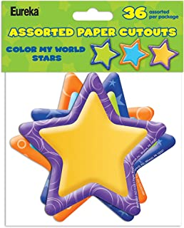 Eureka Back to School Color My World Stars Paper Cut Out Classroom Decorations for Teachers, 36pc, 5''H