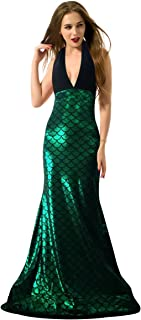 Jescakoo Women Sleeveless Halter V-Neck Shinny Mermaid Maxi Dress S-XL