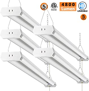 LED Shop Light for garages,4FT 4800LM,42W 5000K Daylight White,LED Ceiling Light, LED Wrapround Light, with Pull Chain (ON/Off),Linear Worklight Fixture with Plug, cETLus Listed 5Pack 50K
