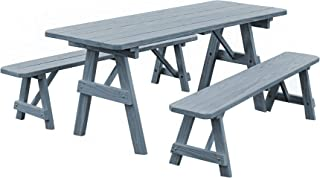 Pressure Treated Pine 6 Foot Picnic Table with Detached Benches- Gray Stain