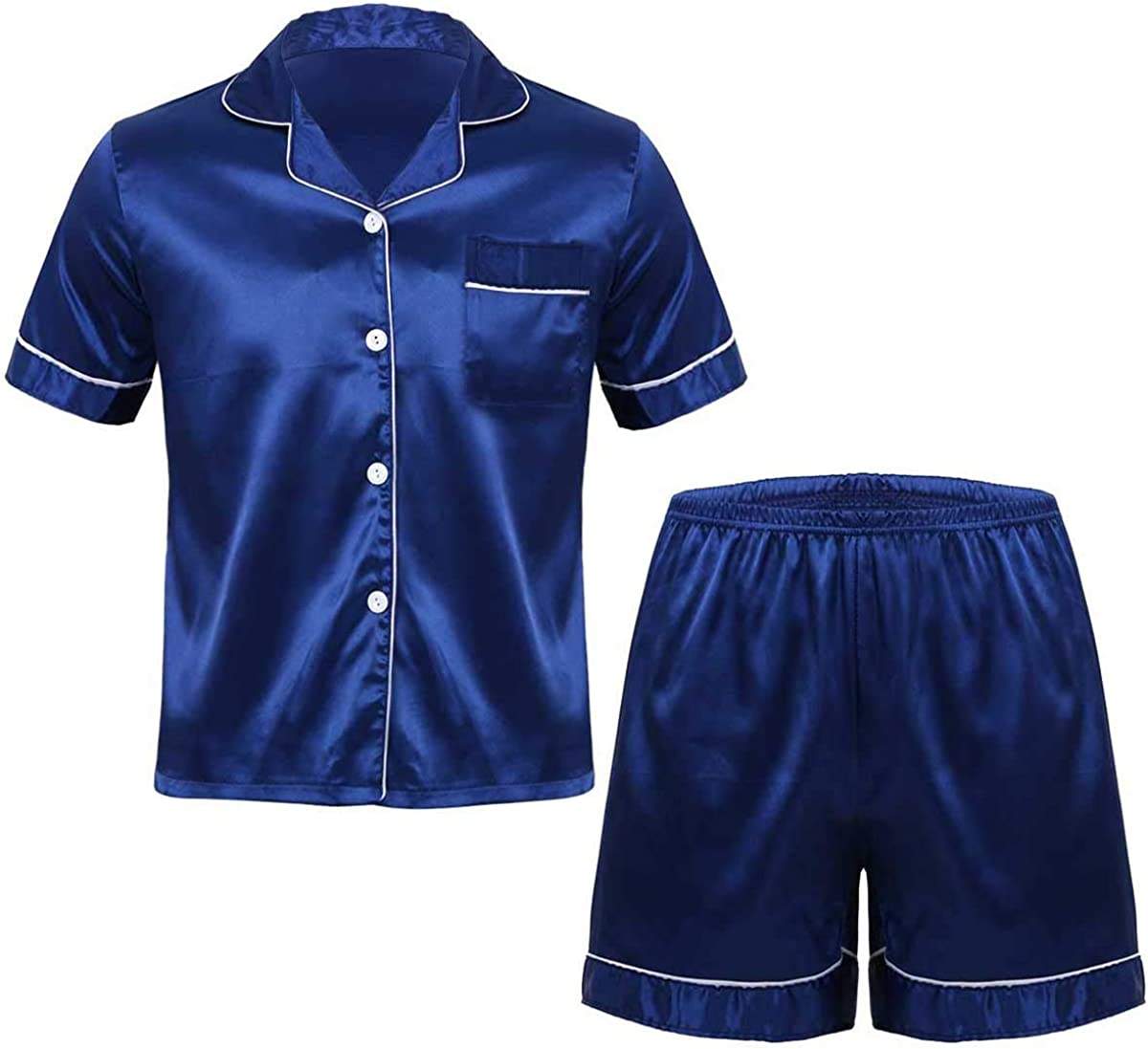 Haitryli Mens Silky Satin Pajamas Set Notch Collar Short Sleeves Button Down Shirt Top Boxer Shorts Sleepwear Loungewear