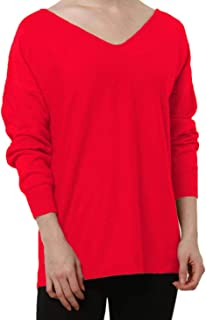 Cashmere Sweaters Women V-Neck Long Sleeves Loose Pullover Ladies Sexy Merino Wool Tops