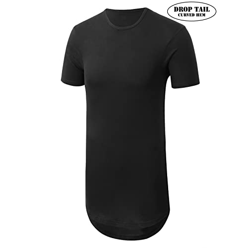 74de478c JD Apparel Mens Basic Hipster Hip Hop Elong Longline Crewneck T-Shirt