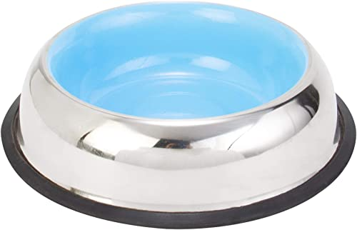 Choostix Dog and Cat Feeding Steel Bowl, Belly Style, Pantone Light Blue, Medium, 710 ml