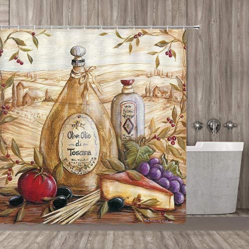 EdCott Duschvorhang Weingut Weinflasche & Wein & Sonnenuntergang Weinberg Land Romantische Farm Tomaten Traubenrot mit Badezimmer dekoriert Haken