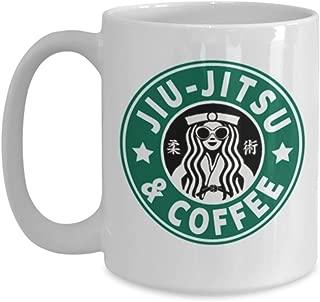 Jiu Jitsu and Coffee Brazilian Jiu Jitsu Coffee Mug Great Gift for BJJ or MMA Fighter or Instructor Great Brazilian Jiu Jitsu Mug, BBJ, MMA Great Gift for Jiu Jitsu Instructor or Trainer, Gi, Gracie
