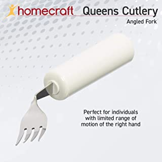 Homecraft Queens Angled Cutlery, Right-Handed Angled Fork, Ergonomic Adaptive Fork, Cutlery with Easy-to-Grip Handles for Limited or Weak Grasp, Grip Fork for Independent Eating, Adaptive Utensil