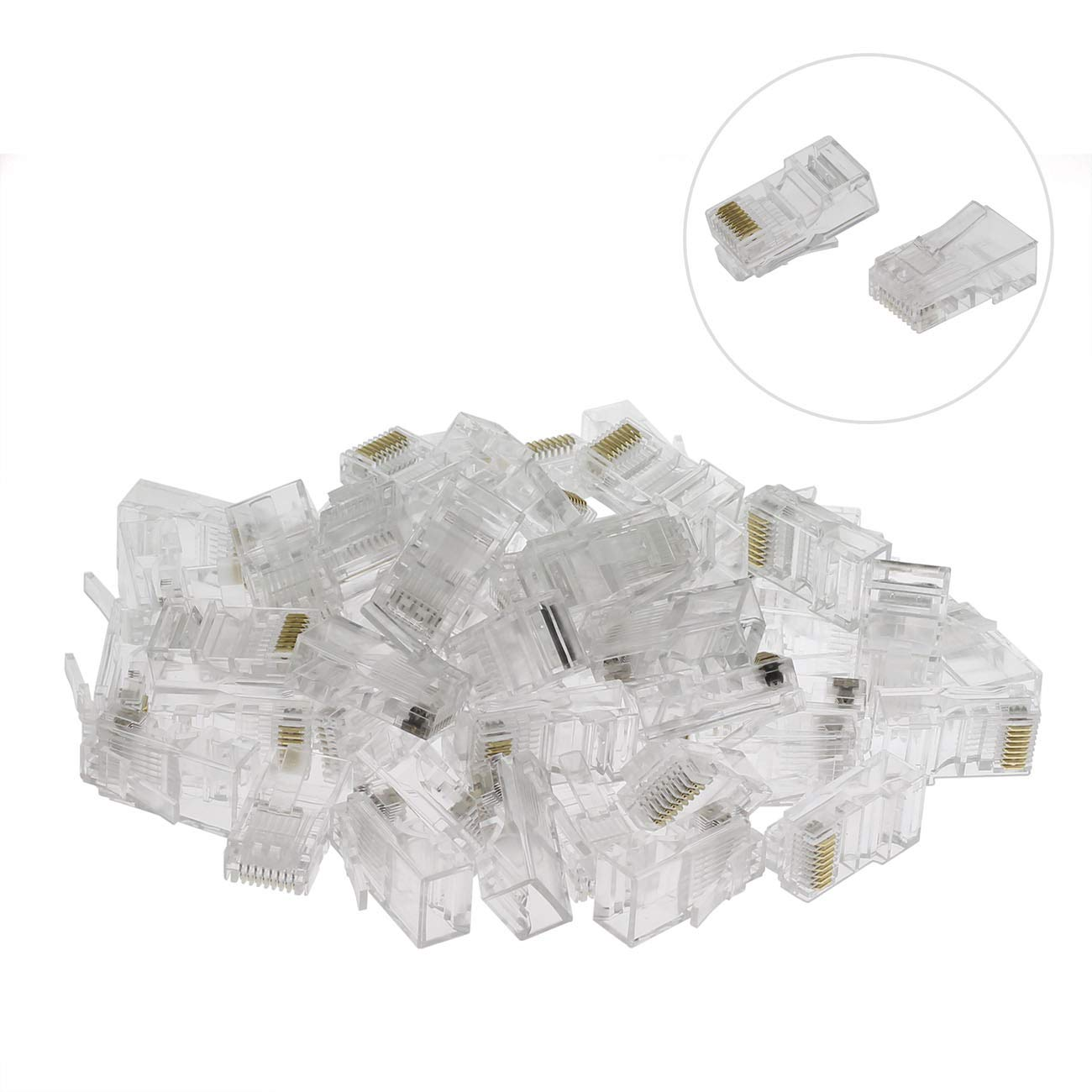 ZYAMY 50pcs RJ45 8P8C Cat5e Network Cable Crystal Heads with Boots Cover Ethernet Crimp Cable Modular Plug Gold Plated Shielded CAT 5e Connector