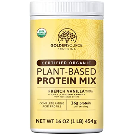GoldenSource Proteins, Organic Plant-Based Protein, French Vanilla, 1 Pound, 18 Servings, 22 Vitamins & Minerals, Complete Amino Acid Profile, Free from Gluten, Soy, Dairy & Peanut, no Added Sugar