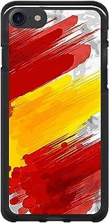BJJ SHOP Funda Negra para [ iPhone 7 / iPhone 8 ], Carcasa de Silicona Flexible TPU, diseño: Bandera españa, Pintura de brocha Sobre Fondo Abstracto