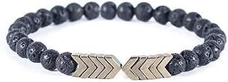 Volcanic Lava Stone Essential Oil Diffuser Bracelets- Bangle Healing Balance Yoga Magnet Arrow Beads Bracelets- for Men Women (1)