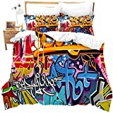 zzkds Hippie Graffiti Tröster Bezug Set in voller Größe für Kinder Jungen Jugend Bettbezug Moderne Bettwäsche Wand Urban Street Art Tagesdecke Bezug mit 2 Kissen Shams und Krawatten Personalisiert