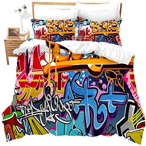 zzkds Funda de edredón Hippie Graffitipara niños Niños Juventud Funda nórdica Ropa de Cama Moderna Pared Urban Street Art Personalizada