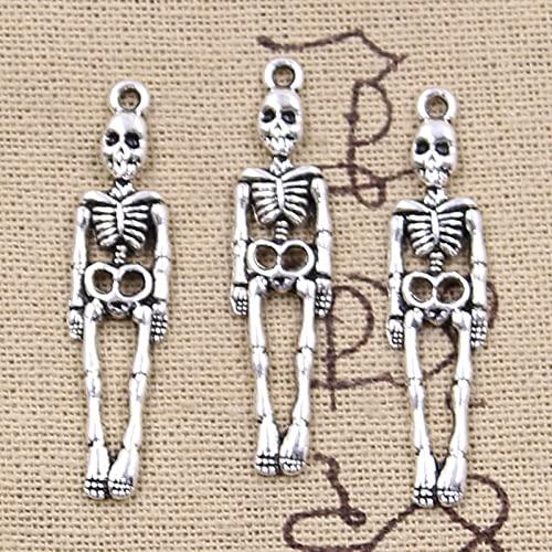 YEZINB 12 Uds encantos Calavera Esqueleto Hombre 39x9mm Colgantes chapados en Plata Antigua fabricación de joyería tibetana Hecha a Mano DIY