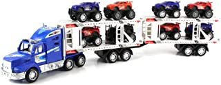 Power Speed Race Trailer Friction Powered Toy Truck w/ Trailer, 8 Toy Cars (Colors May Vary)