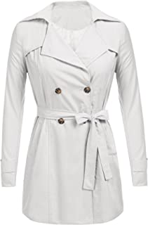 SoTeer Womens Double Breasted Belted Trench Coats