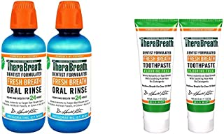 TheraBreath Gluten-Free Fresh Breath Oral Rinse, ICY Mint, 16 Ounce Bottle (Pack of 2) and TheraBreath Fres...