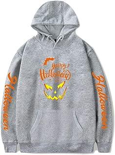 Halloween Scary Pumpkin Face Jack O'Lantern Women's Hoodie Long Sleeve Funny Pumpkin Skeleton Hoodies