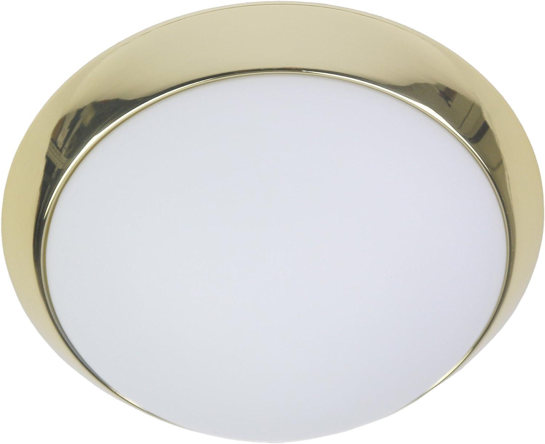 Niermann Standby LED Deckenleuchte Dekorring Messing poliert  Glas Metall opal matt 30 x 30 x 11 cm