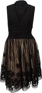 S.L. Fashions SLNY Women's Plus Size Embellished Fit & Flare Dress (18W, Black/Gold)