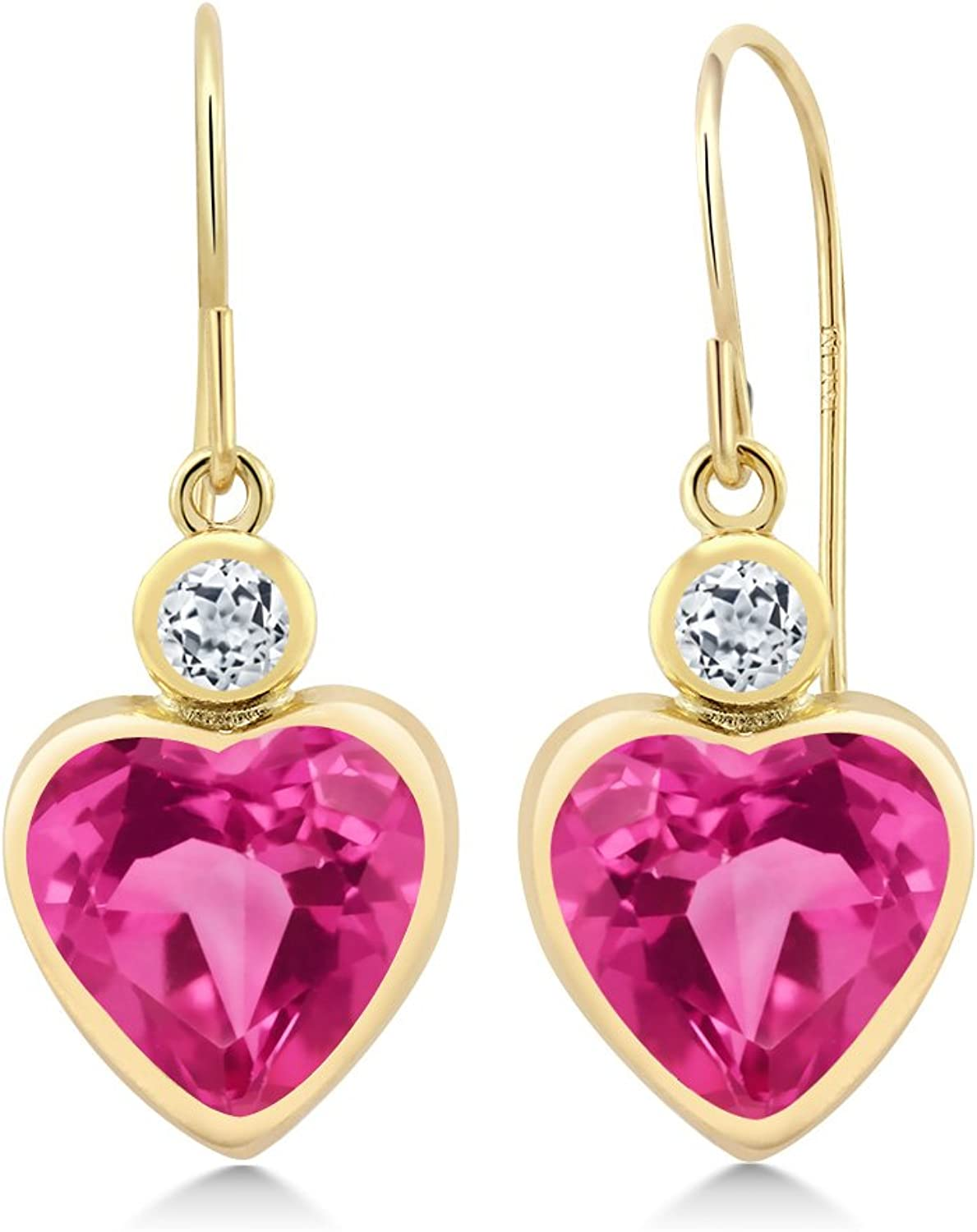 5.14 Ct Heart Shape Pink Created Sapphire White Topaz 14K Yellow gold Earrings